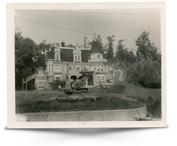 Early photograph of The Magic Castle undergoing exterior renovations